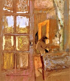 Madame Vuillard in an Interior / Edouard Vuillard - circa 1920 Too fabulous for words. The further away you get the better it is. Close up, the line is magnificent