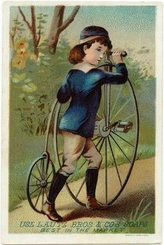 Victorian trade card, vintage advertising card, boy bike clipart, free vintage ephemera, old fashioned bicycle, Lautz soaps advertising