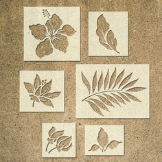 Tropical Flower Stencils Template – Pack of 6 – Ideal for Painting Wood Signs DIY Decor – cardboard crafts diy Stencil Fabric, Stencil Painting, Fabric Painting, Painting On Wood, Bird Stencil, Damask Stencil, Stenciling, Stencil Templates, Stencil Patterns