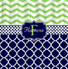 Ordered for Ayden & Angie's bathroom!!!! Personalized Shower Curtain -Lime Chevron- Navy & White Quatrefoil - Any Colors - Your Personalization and Accents on Etsy,