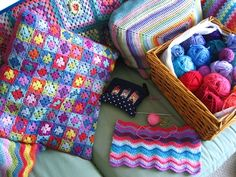 Colorful crochet pillows. Lucy's site is so colorful!