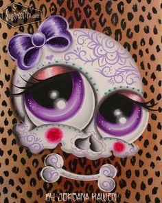 Leopard print sugar skull painting by Jordana Hawen. For sale! Sugar Skull Painting, Sugar Skull Art, Sugar Skulls, Animated Screensavers, Skull Rose Tattoos, Skull Pictures, Halloween, Skull Artwork, Blue Tattoo