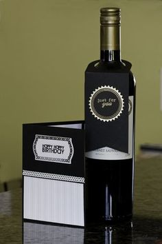 Happy Birthday Card and Wine Bottle Tag by kadacat