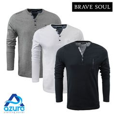 Mens Long Sleeve Henley Top by Brave Soul 'Sharp' Button V-Neck Shirt S to XL | Clothes, Shoes & Accessories, Men's Clothing, Casual Shirts & Tops | eBay!