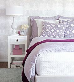 Mix strong geometric patterns with feminine purple for a look that's fresh, not frilly: http://www.bhg.com/rooms/bedroom/color-scheme/bedroom-colors/?socsrc=bhgpin042414modernpurple&page=11