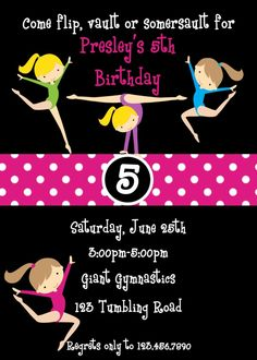 Gymnastics Birthday Party Invite