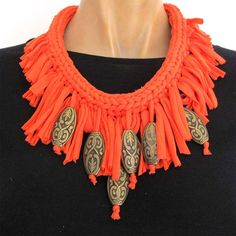 SherryNir -Textile necklace, Handmade One of a kind, Fabric Jewelry, I-cord Knitting, Coral Color