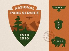 National Park Service - Badge Redesign designed by Michael Penda. Connect with them on Dribbble; the global community for designers and creative professionals. Service Logo, Park Service, Logo Branding, Branding Design, Logo Design, Design Shop, Park Signage, Graphic Design Layouts, Badge Design