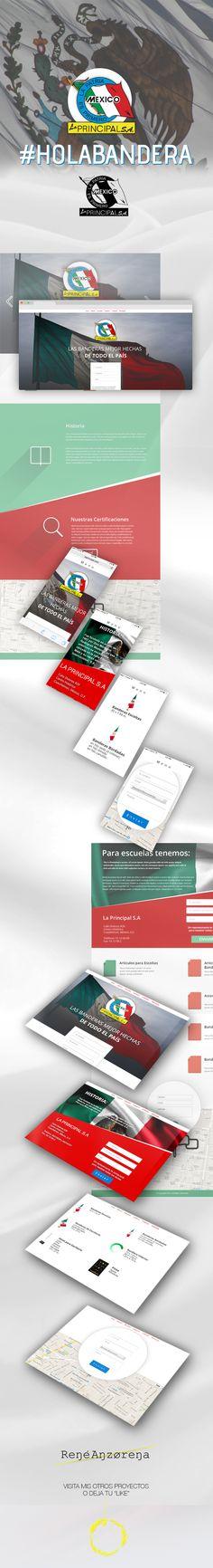 Diseño web, diseño gráfico, dirección de arte, diseño de UI/UX para Banderas La Principal, una de las más antiguas y reconocidas empresas que producen banderas mexicanas y corporativas que tienen certificación federal.  Art Direction, Graphic Design, Web Design