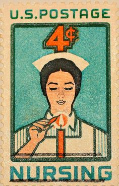 Nurse Lighting a Candle - Hand Stretched Archival Canvas Image of US Postage Stamp Old Stamps, Vintage Stamps, Rare Stamps, Vintage Ephemera, Commemorative Stamps, Vintage Nurse, Going Postal, Fauna, Mail Art