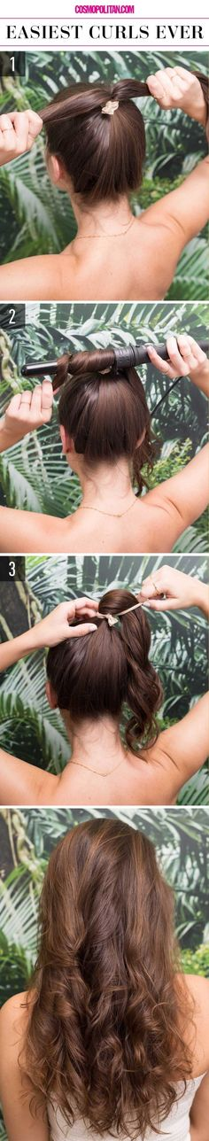 THE EASIEST WAY TO CURL HAIR WITH A CURLING IRON: This look is so easy, you can create it in just three steps! Here, you'll find a roundup of super easy hairstyles from Cosmopolitan.com that you can pull off in minutes — perfect for getting ready for work in a hurry. Click through for the full tutorial and for more easy hairstyles.