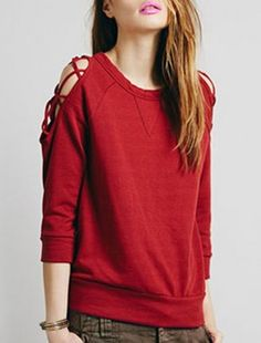 Chic Scoop Neck 3/4 Sleeve Hollow Out Sweatshirt For Women