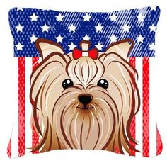 American Flag and Yorkie Yorkishire Terrier Fabric Decorative Pillow BB2134PW1414