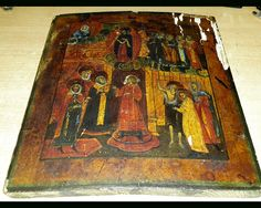 Ancient wooden icon Intercession of the Theotokos.