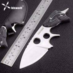 KKWOLF fixed hunting knife 59HRC D2 steel german camping survival pocket karambit knives Mikata handle CNC Self-defense Tactical