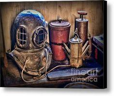 Nautical - Antique Dive Helmet Canvas Print / Canvas Art By Paul Ward