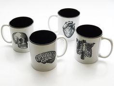 Human Anatomy MUGS Cup gift set black and white by artaltered