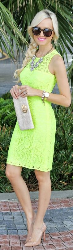 J.crew Neon Yellow Bodycon Lace Shift Dress by A spoonful of Style