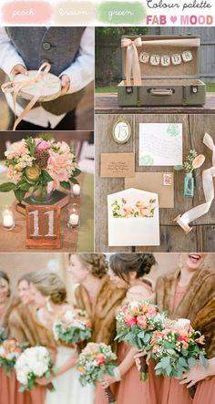 Peach brown wedding colors, peach brown green colours palette | http://www.fabmood.com/peach-green-brown-vintage-wedding/