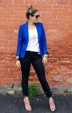 edgy look with cobalt blazer and blush booties