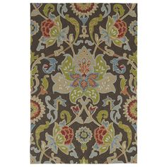 Indoor/ Outdoor Fiesta Brown Flower Rug (3' x 5') | Overstock.com Shopping - Great Deals on 3x5 - 4x6 Rugs