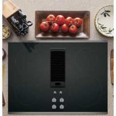 Profile 30 in. Radiant Electric Downdraft Cooktop in Stainless Steel with 4…