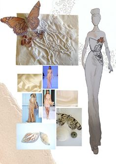 Fashion Portfolio layout - fashion design with butterfly inspirations, dress drawing embroidered textiles sample