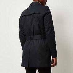 Navy double breasted military trench coat - macs / trench coats - coats…