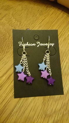 Buy at: https://www.etsy.com/uk/shop/KinleysDesigns  #stars #earrings #girly #purple #pastel #blue #violet #fashion #accessories #chain #homemade #creative