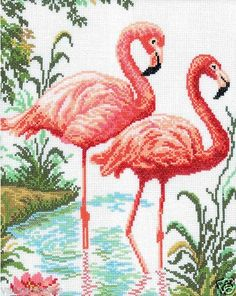 Cross stitch flamingos