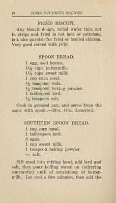 Some Favorite Recipes. Nashville: Williams Printing Co. Retro Recipes, Old Recipes, Vintage Recipes, Cookbook Recipes, Cooking Recipes, Frugal Recipes, Blender Recipes, Yummy Recipes, Biscuit Bread