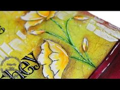 Art Journal Layout - Friends are flowers - YouTube////EXCELLENT VIDEO, she blends fluid acrylic paint with a blending tool over tissue paper that looks crackled, expert use of texture paste and a simple stencil that adds lovely white highlights,