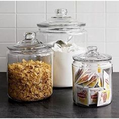 Food Storage Containers, Glass Containers, Jar Storage, Kitchen Storage, Storage Ideas, Crate Storage, Flour Storage, Kitchen Containers, Glass Storage Jars