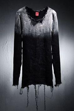 Best Men's Punk & Avant Garde Fashion ByTheR Custom Soulder Painting Vintage Knit Top by Virgin Blak
