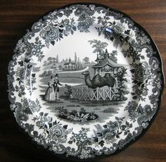 Black White Transferware Toile Victorian Couple Zoo Camel Plate & Sage Green Brown Toile Horse Girl Hat Vintage Plate | Vintage plates ...