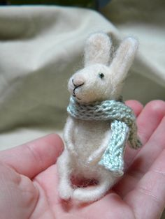 Little bunny with scarf  needle felted ornament by feltingdreams,