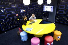 Pac-Man Office Conference Room. Pac Man Table, Inky, Blinky, Pinky, & Clyde Ghost Chairs - at the Coolblue HQ offices in the Netherlands