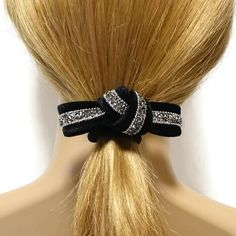 Sand Dazzling Rhinestone Decorated Velvet Bow Knot Elastic Ponytail Holder  #accessory #handmade #accessories #hairaccessory #stylish #pretty #gift #shop #trend #ponytail #ponytailholder