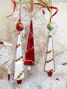 Stained Glass Christmas Tree Whimsical Red and White by miloglass, $25.00
