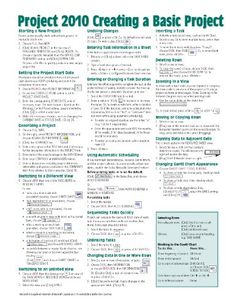 Microsoft Project 2010 Quick Reference Guide: Creating a Basic Project (Cheat Sheet of Instructions, Tips  Shortcuts - Laminated Card)