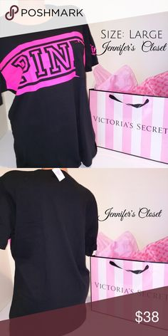 {Victoria Secret PINK} logo pocket tshirt ✨Welcome!✨ Bundles available  ✨Smoke/Pet free household I ship Monday-Friday same/next day unless it's a national holiday. ✨Reasonable offers welcome, use the offer button!  All items are 100% Authentic and bought from Victoria Secret stores.    ❌NO TRADES ❌NO HOLDS ❌NO PP PLEASE DO NOT RATE ME BASED UPON FIT/SIZE OF YOUR ITEM.   ⚡️PURCHASE AT YOUR OWN RISK  PS: All my items are New with tags, or New in packaging. Please keep that in mind with 20%…
