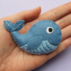 Whale cute felt brooch by lupin on Etsy