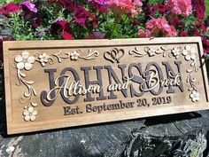 Personalized Wedding Gift Family Last Name Signs hearts flowers flourish Custom couples Sign Lovejoy Personalized Wood Signs, Wooden Name Signs, Carved Wood Signs, Personalized Wedding Gifts, Couple Christmas Presents, Gifts For Family, Family Wood Signs, Family Name Signs, 5 Year Anniversary Gift
