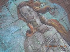 krijt tekening naar Botticelli chalk pastel streetart