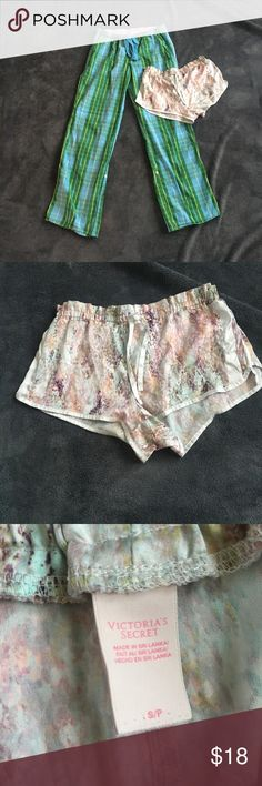 Victoria Secret/PINK pajama bottoms lot. Green Victoria Secret PINK pajama pants. Plaid with writing on the back. Also includes silky patterned Victoria Secret shorts. Both in good condition. Sold together as a lot. PINK Victoria's Secret Intimates & Sleepwear Pajamas