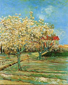 Vincent van Gogh (Dutch, Post-Impressionism, 1853-1890): Orchard in Blossom, 1888. Created in Arles, France. Oil on canvas. Private Collection.
