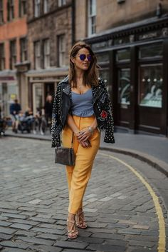 The Little Magpie Topshop Yellow Trousers Sporty Outfits, Fashion Outfits, Back In The Game, Studded Jacket, Street Outfit, Embroidered Jacket, Petite Dresses, Straight Leg Pants, Outfit Posts