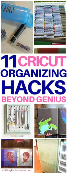 These Cricut organization ideas are SO smart - why didn't I think of them? Love the idea to use the Mentos container to store blades or binder with plastic sleeves for vinyl scraps. Worth reading! #cricut #storage #hacks