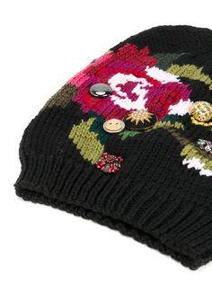 Купить Dolce   Gabbana шапка-бини с цветочной вышивкой. e2b5296041cab