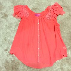 Betsey Johnson Flowy Cap Sleeve Blouse This coral pink top is completely sheer and flowy. The ruffles and embroidery details on the cap sleeves make it ultra feminine. Perfectly paired with white denim or shorts for summer. Excellent condition. Like new. Betsey Johnson Tops Blouses